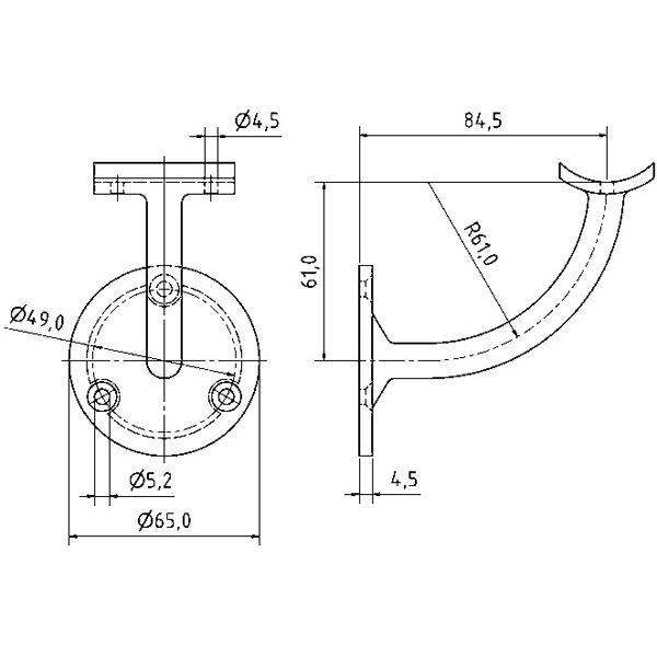 cn5000500 support de main courante d port. Black Bedroom Furniture Sets. Home Design Ideas